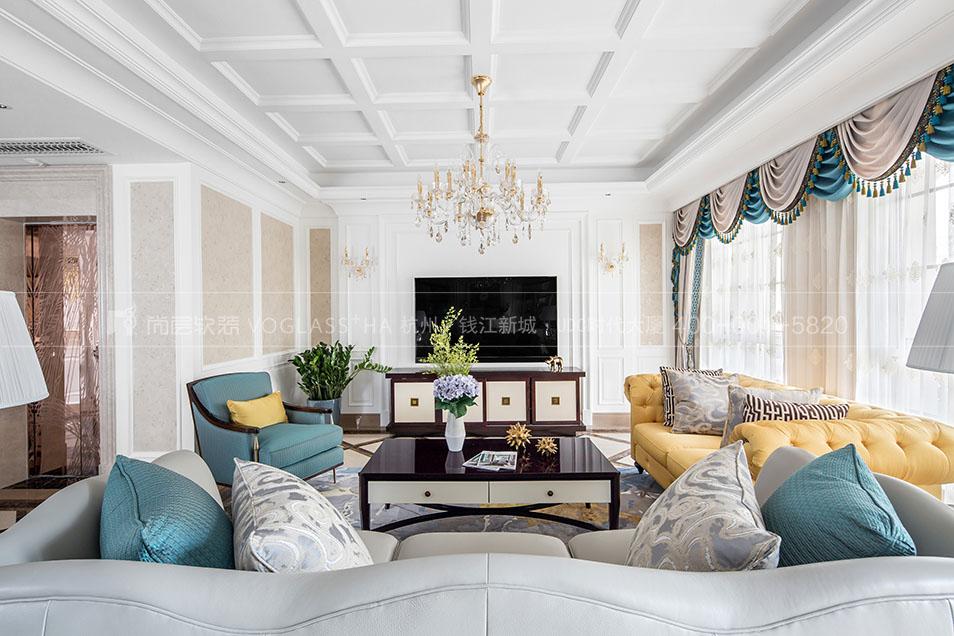 现代美式客厅实景图