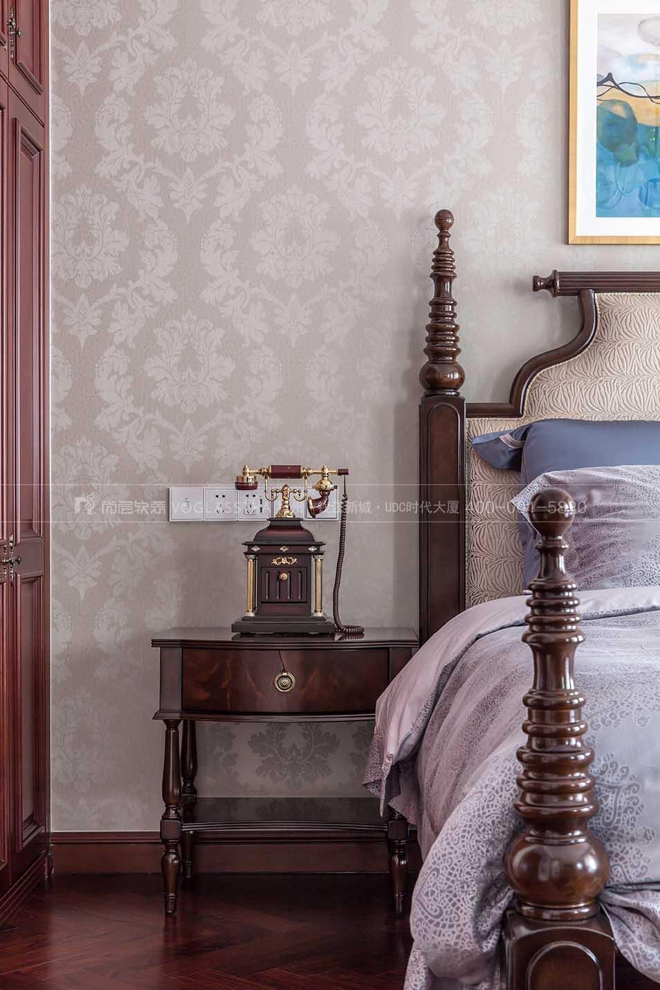 次卧软装实景图-现代美式风格-杭州尚层软装