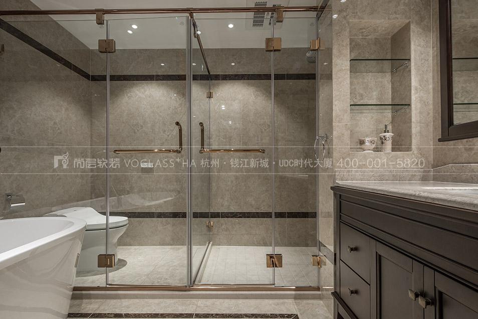 卫浴间软装实景图-现代美式风格-杭州尚层软装