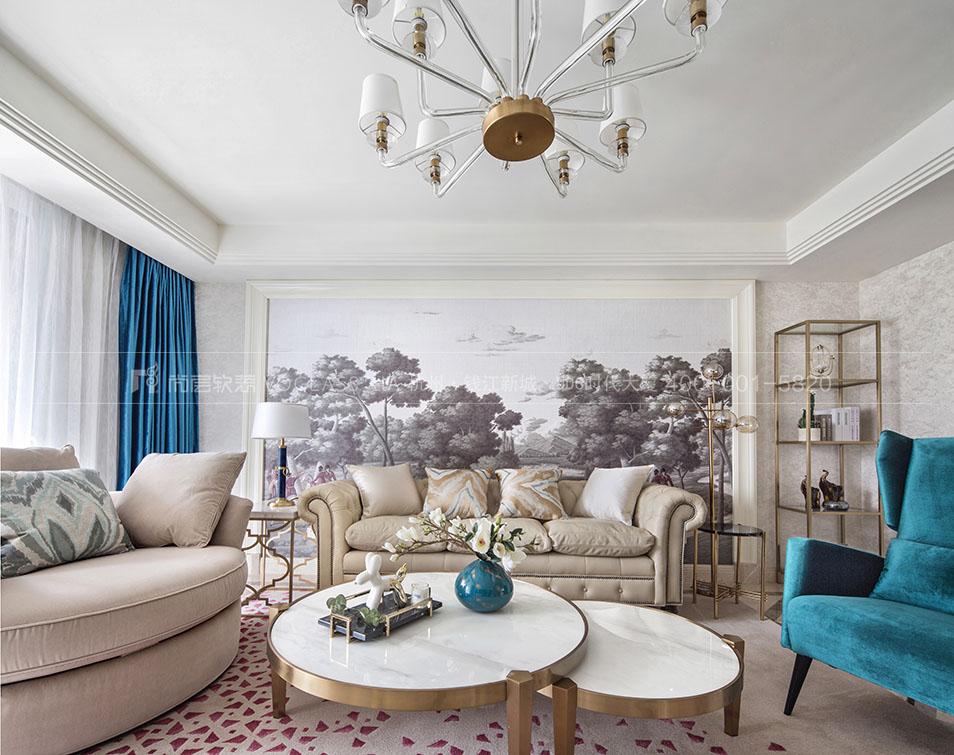 现代美式客厅软装效果图-杭州尚层软装
