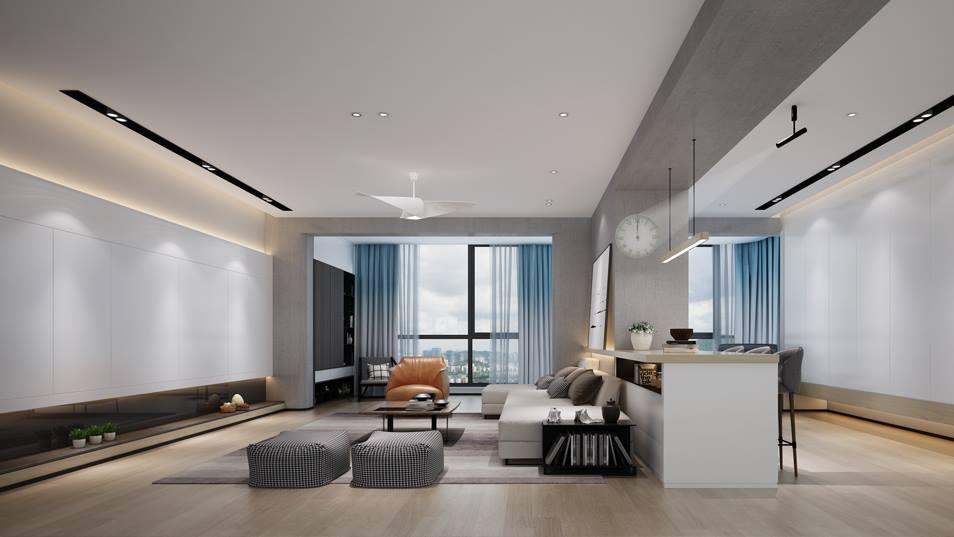 传麒山现代简约风格客厅装修效果图