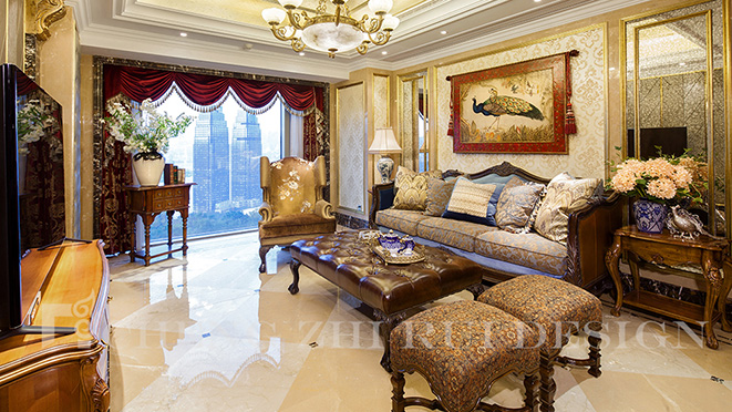 200m² 美式中式混搭别墅装修案例