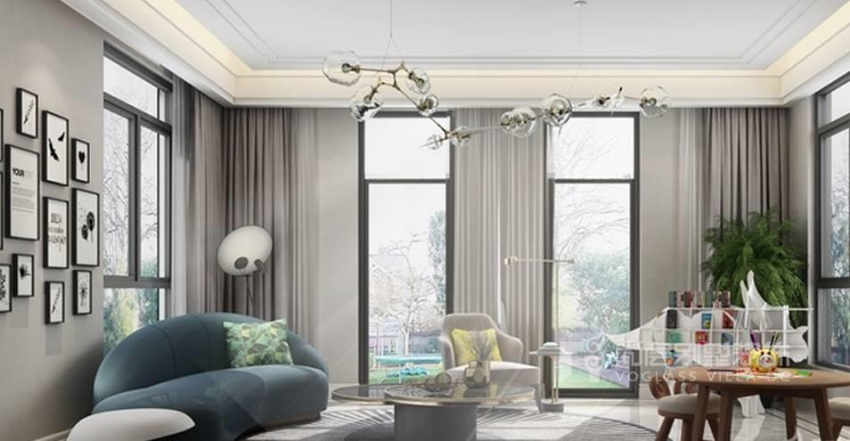 尚层别墅设计师巧妙的运用色彩和配饰,丰富了整个房间的空间层次.