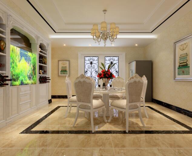 整个餐厅设计很简洁,内嵌鱼缸给整个空间增色不少.