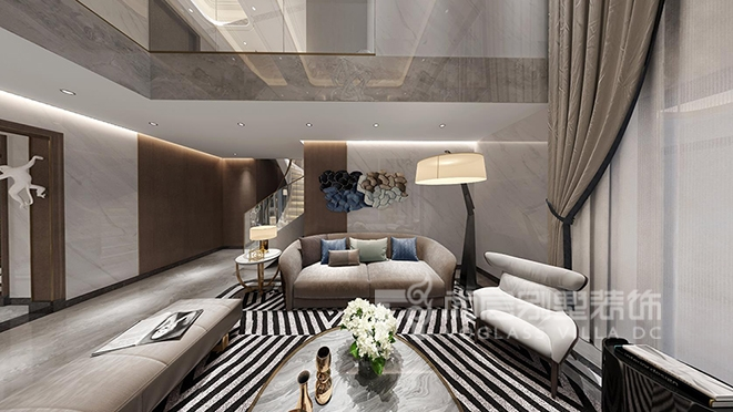 300平米轻奢风格别墅装修设计效果图,深圳别墅装修
