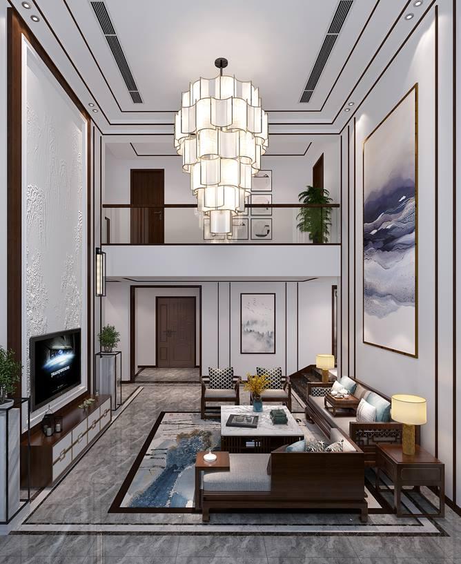 领岛别墅装修案例310m²——新中式风格