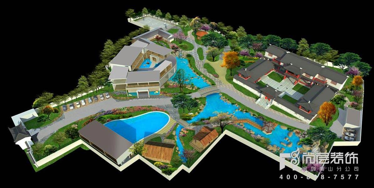 2600四合院别墅设计效果图案例