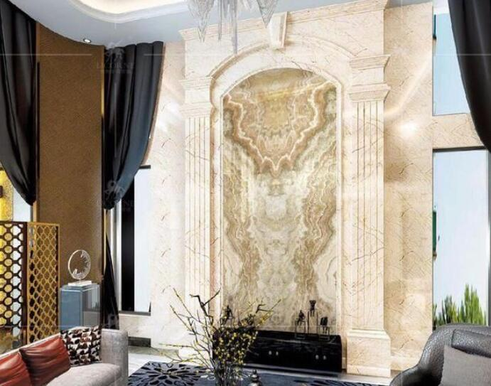 经典案例赏析:别墅豪宅中庭罗马柱与背景墙效果图